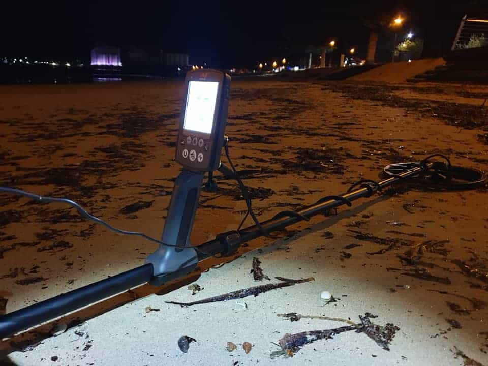 metal detecting at night